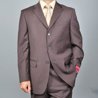 Men's Brown 3-button Wool Suit