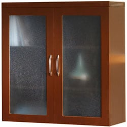 Mayline Aberdeen Glass Cherry Storage Cabinet