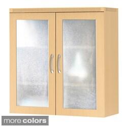 Mayline Aberdeen Laminate and Glass Storage Cabinet