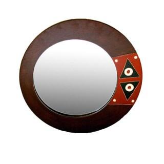 Handmade Adinkra Round Mirror (Ghana)