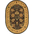 Handmade Antiquities Mashad Black/ Ivory Wool Rug (7'6 x 9'6 Oval)