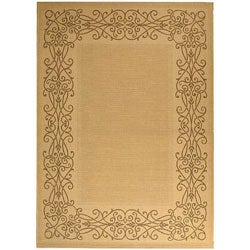 Indoor/ Outdoor Ocean Natural/ Brown Rug (6'7 x 9'6)