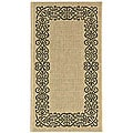 Safavieh Indoor/ Outdoor Ocean Sand/ Black Rug (2' x 3'7)