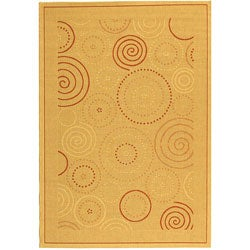 Safavieh Indoor/ Outdoor Resort Natural/ Terracotta Rug (7'10 x 11')