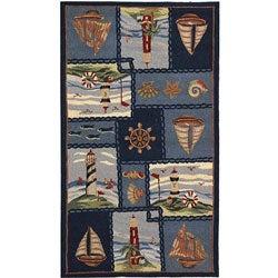Hand-hooked Nautical Blue Wool Rug (3'9 x 5'9)