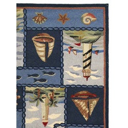 Safavieh Hand-hooked Nautical Blue Wool Rug (6' x 9')