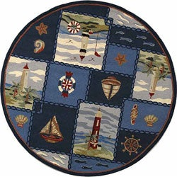 Hand-hooked Nautical Blue Wool Rug (5'6 Round)
