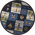 Hand-hooked Nautical Blue Wool Rug (5'6 Round)