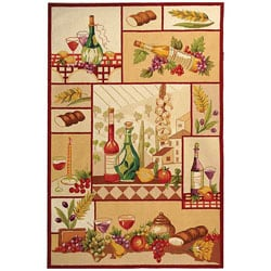 Hand-hooked Wine and Fruit Multicolor Wool Rug (8'9 x 11'9)