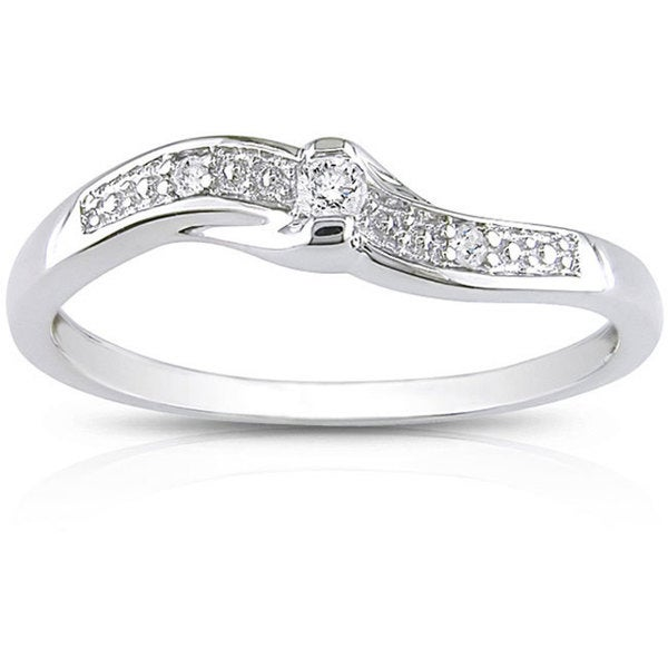 Haylee Jewels 10k White Gold Diamond Promise Ring (K-L, I2)