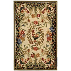 Hand-hooked Rooster and Hen Cream/ Black Wool Runner (2'6 x 4')