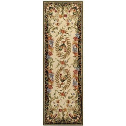 Safavieh Hand-hooked Rooster and Hen Cream/ Black Wool Runner (2'6 x 6')