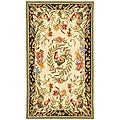 Hand-hooked Rooster and Hen Cream/ Black Wool Rug (2'9 x 4'9)