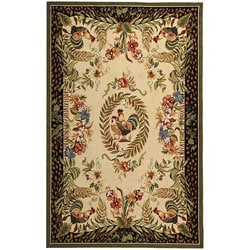 Hand-hooked Rooster and Hen Cream/ Black Wool Rug (3'9 x 5'9)