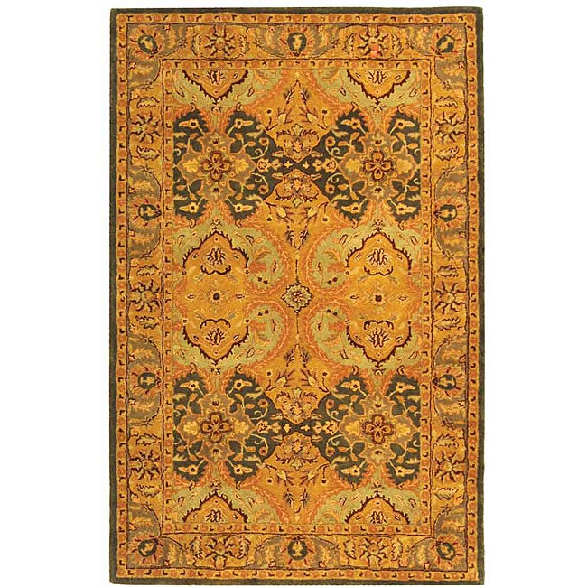 Safavieh Handmade Treasure Gold/ Green New Zealand Wool Rug (7'6 x 9'6)