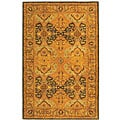 Handmade Treasure Gold/ Green New Zealand Wool Rug (7'6 x 9'6)