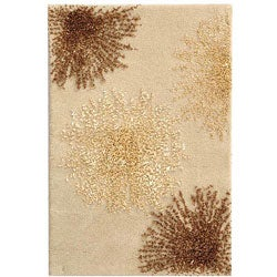 Handmade Soho Burst Beige New Zealand Wool Rug (2' x 3')