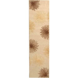 Handmade Soho Burst Beige New Zealand Wool Runner (2'6 x 10')