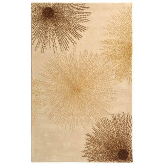 Handmade Soho Burst Beige New Zealand Wool Rug (3'6 x 5'6)