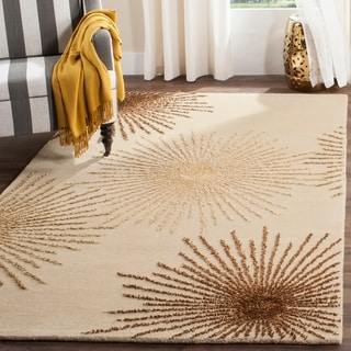 Safavieh Handmade Soho Burst Beige New Zealand Wool Shag Rug (3'6 x 5'6)
