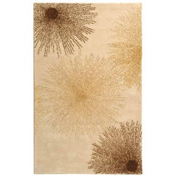 Handmade Soho Burst Beige New Zealand Wool Rug (5' x 8')