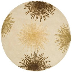 Handmade Soho Burst Beige New Zealand Wool Rug ( 6' Round)