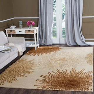 Safavieh Handmade Soho Burst Beige New Zealand Wool Rug (7'6 x 9'6)