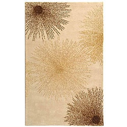 Handmade Soho Burst Beige New Zealand Wool Rug (8'3 x 11')