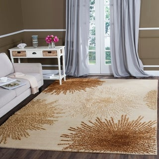 Safavieh Handmade Soho Burst Beige New Zealand Wool Rug (8'3 x 11')