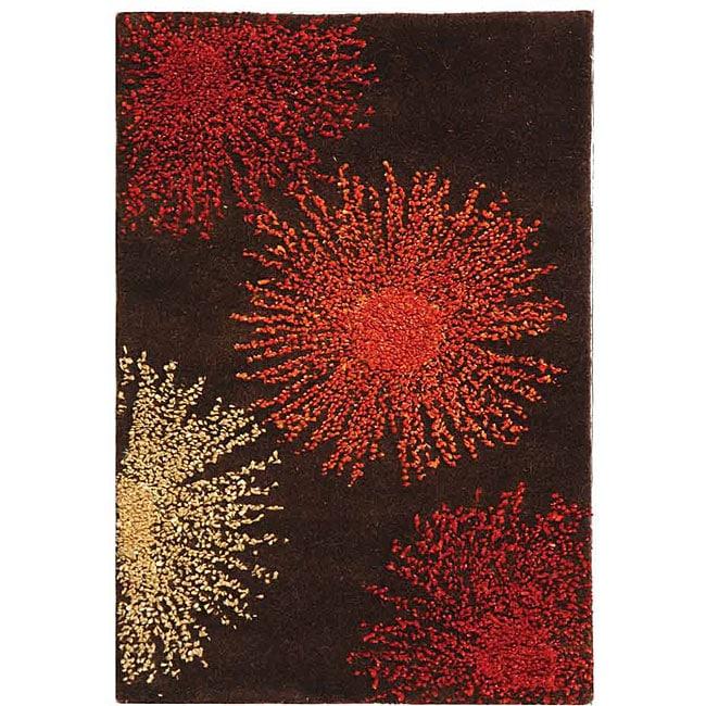 Safavieh Handmade Soho Burst Brown New Zealand Wool Rug (2' x 3')