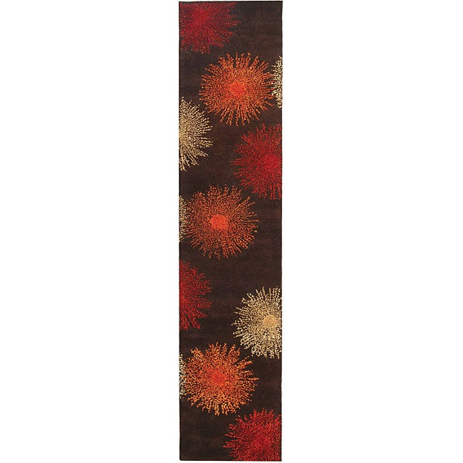 Safavieh Handmade Soho Burst Brown New Zealand Wool Runner (2'6 x 8')