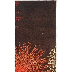 Handmade Soho Burst Brown New Zealand Wool Runner (2'6 x 8')