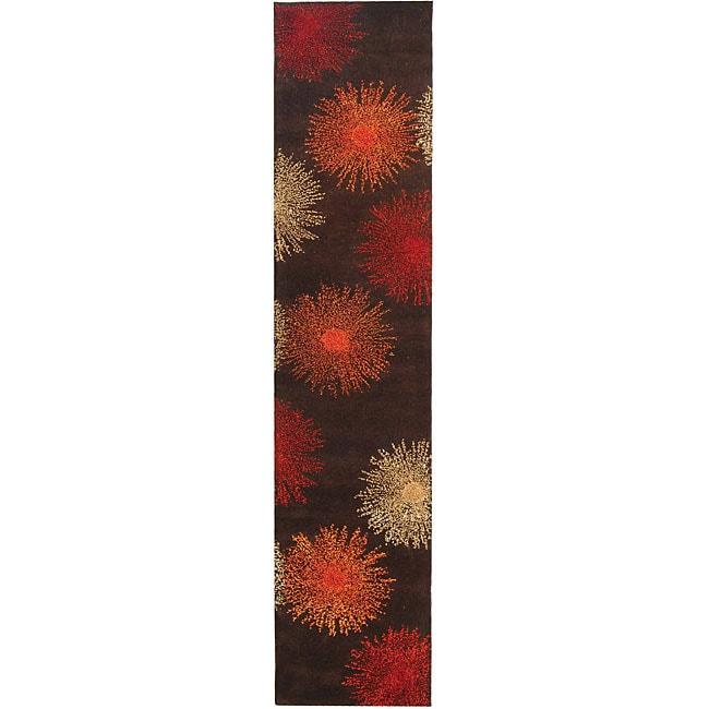 Safavieh Handmade Soho Burst Brown New Zealand Wool Runner (2'6 x 10')