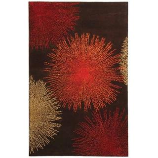Handmade Soho Burst Brown New Zealand Wool Rug (5' x 8')