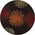 Handmade Soho Burst Brown New Zealand Wool Rug (6' Round)