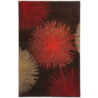 Handmade Soho Burst Brown New Zealand Wool Rug (7'6 x 9'6)