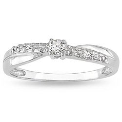 Miadora 10k White Gold Diamond Promise Ring (K-L, I2-I3)