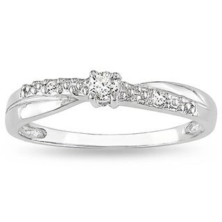 Miadora 10k White Gold Diamond Promise Ring (K-L, I2-I3) with Bonus Earrings