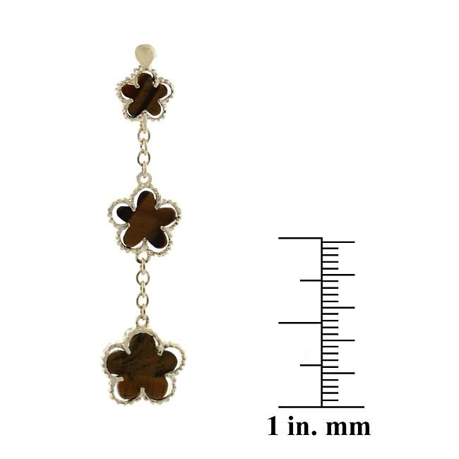Glitzy Rocks 18k Gold Overlay Tiger Eye 3-flower Dangle Earrings