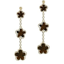 Glitzy Rocks 18k Gold Overlay Tiger Eye 3-flower Dangle Earrings