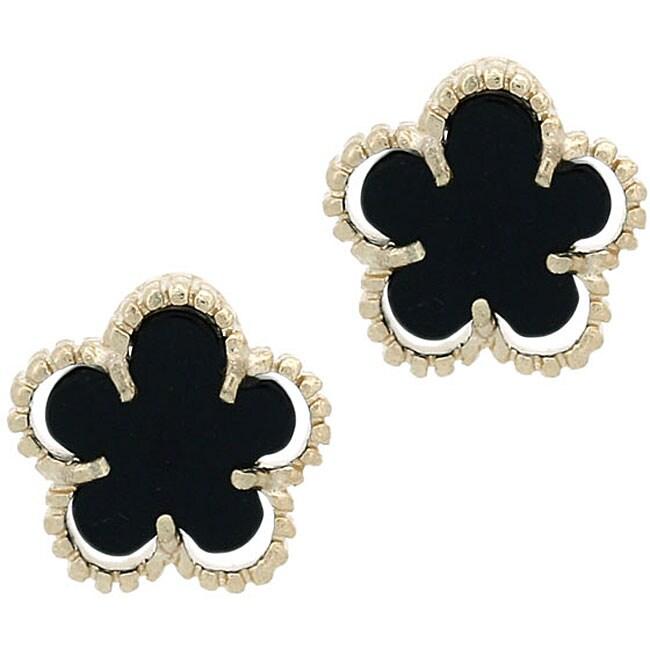 Glitzy Rocks 18k Gold Overlay Onyx Flower Stud Earrings