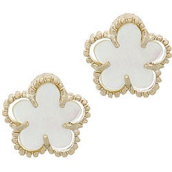 Glitzy Rocks 18k Gold Overlay Mother of Pearl Flower Earrings