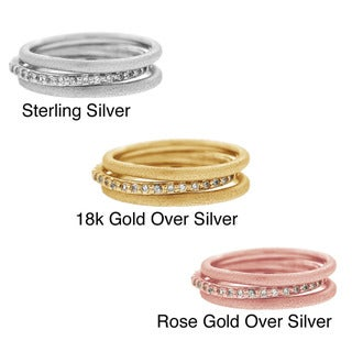 Icz Stonez Sterling Silver Cubic Zirconia Stackable Rings