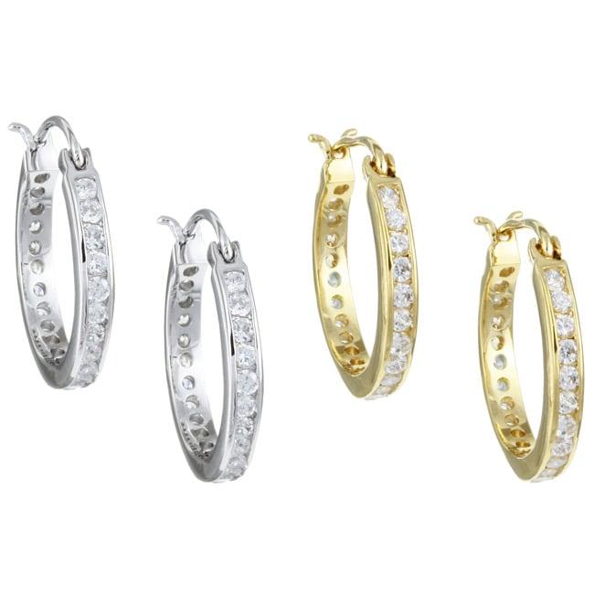 Simon Frank 14k Gold Overlay Channel Set CZ Small Hoop Saddleback Earrings