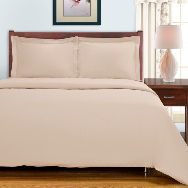 Egyptian Cotton 300 Thread Count Solid 3-piece Duvet Set
