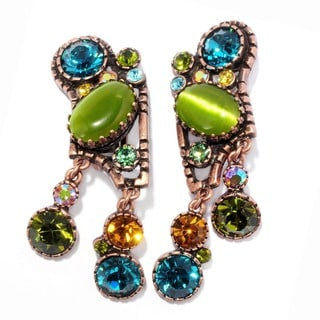 Sweet Romance Modernist Green and Blue Retro Crystal Clip On Earrings