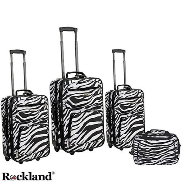 Rockland Deluxe Zebra 4-piece Expandable Luggage Set