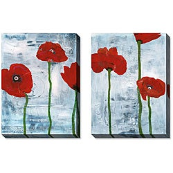 Gunn Tall Poppies on Blue Gallery-wrapped Art Set