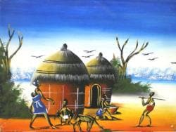 African Village Scene Painting (Ghana)