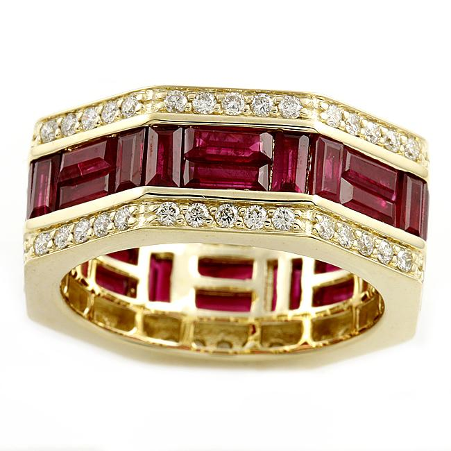 Beverly Hills Charm 14k Yellow Gold Ruby and 1ct TDW Diamond Eternity
